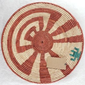 Hand woven coil basket  wall decor or tray NWT